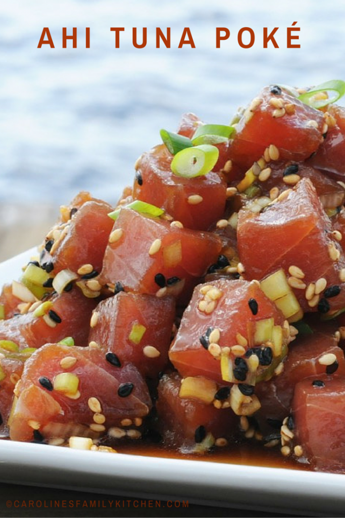 Ahi Tuna Poke Recipe….I used salmon instead of tuna because we were having tuna steaks, also….turned out wonderful!!!