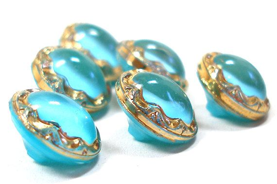 50s Glass buttons 6 turquoise & gold moonglow by OldeTymeNotions