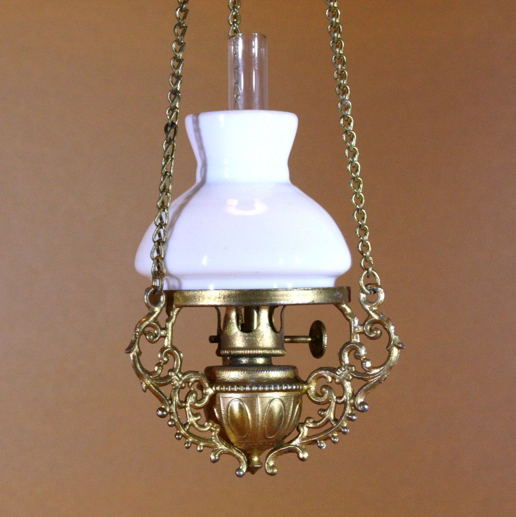 Matches lamp in family dollhouse collection. Antique Doll House hanging Kerosene Lamp - By F.W.GERLACH