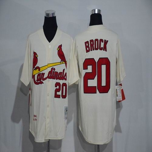 4331d3d8842f MLB New St. Louis Cardinals Mens Jerseys 20 Lou Brock Ivory with Number on  the Front Throwback Cool Base Baseball Jersey
