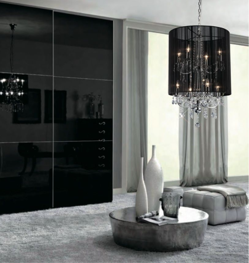 Make A Glamorous Room With Black Chandelier Lamp Shades Design At