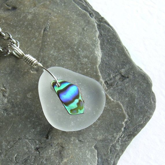 and Paua Shell Natural Bone Lariat Necklace with Glass Crystal