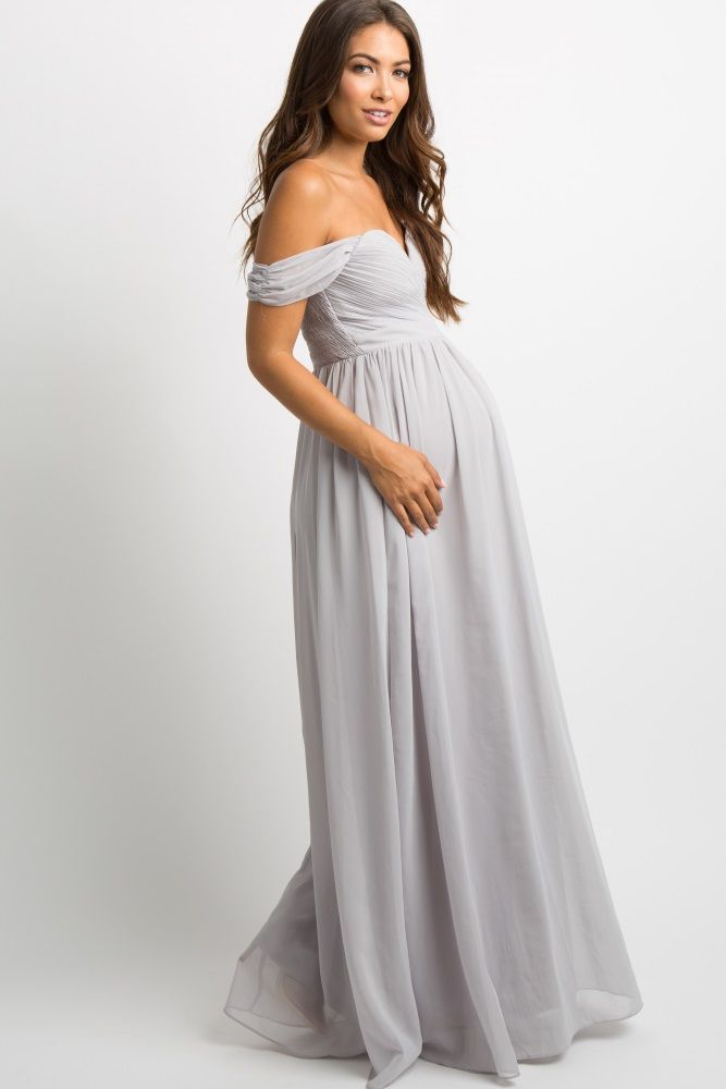 d1e13491c02b4 Grey Chiffon Pleated Off Shoulder Maternity Evening Gown in 2019 | Ball | Maternity  evening gowns, Grey maternity dresses, Maternity bridesmaid dresses