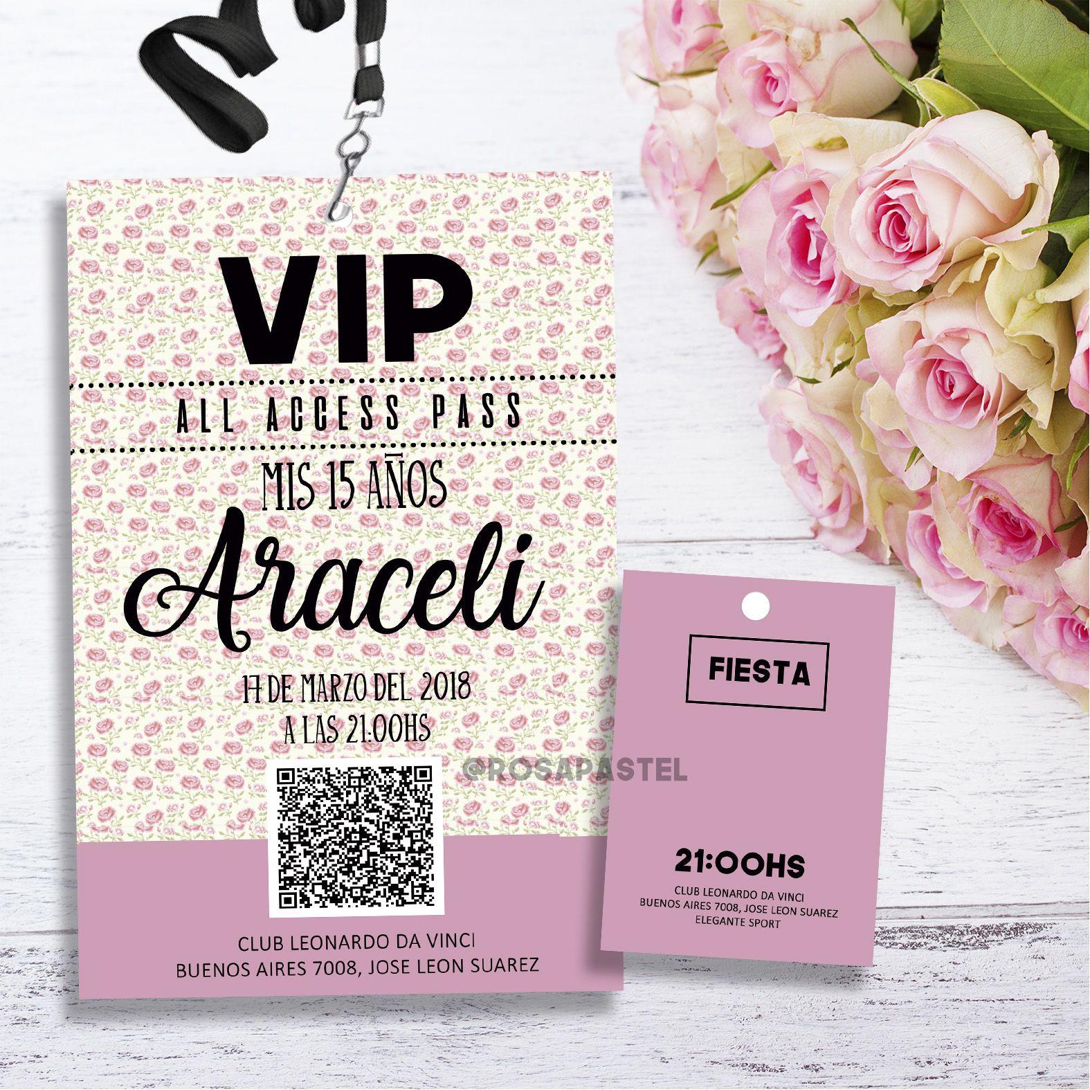 Tarjeta Invitación Pase Vip Plastificada Rosa Con Flores