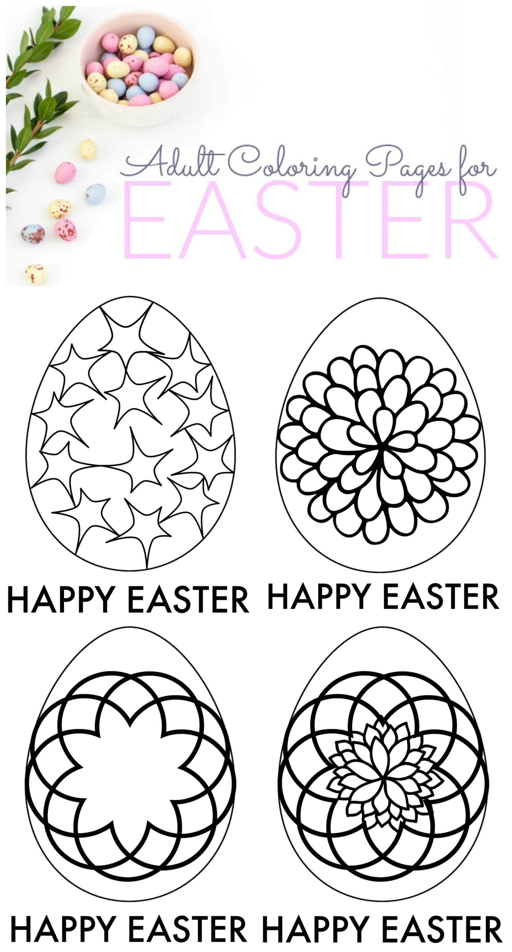 Easter Adult Coloring Pages to Download! Love these cute coloring ...