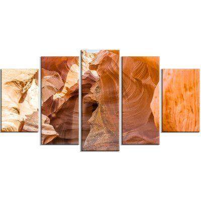 DesignArt 'Antelope Canyon Sandstone' 5 Piece Graphic Art on Wrapped Canvas Set