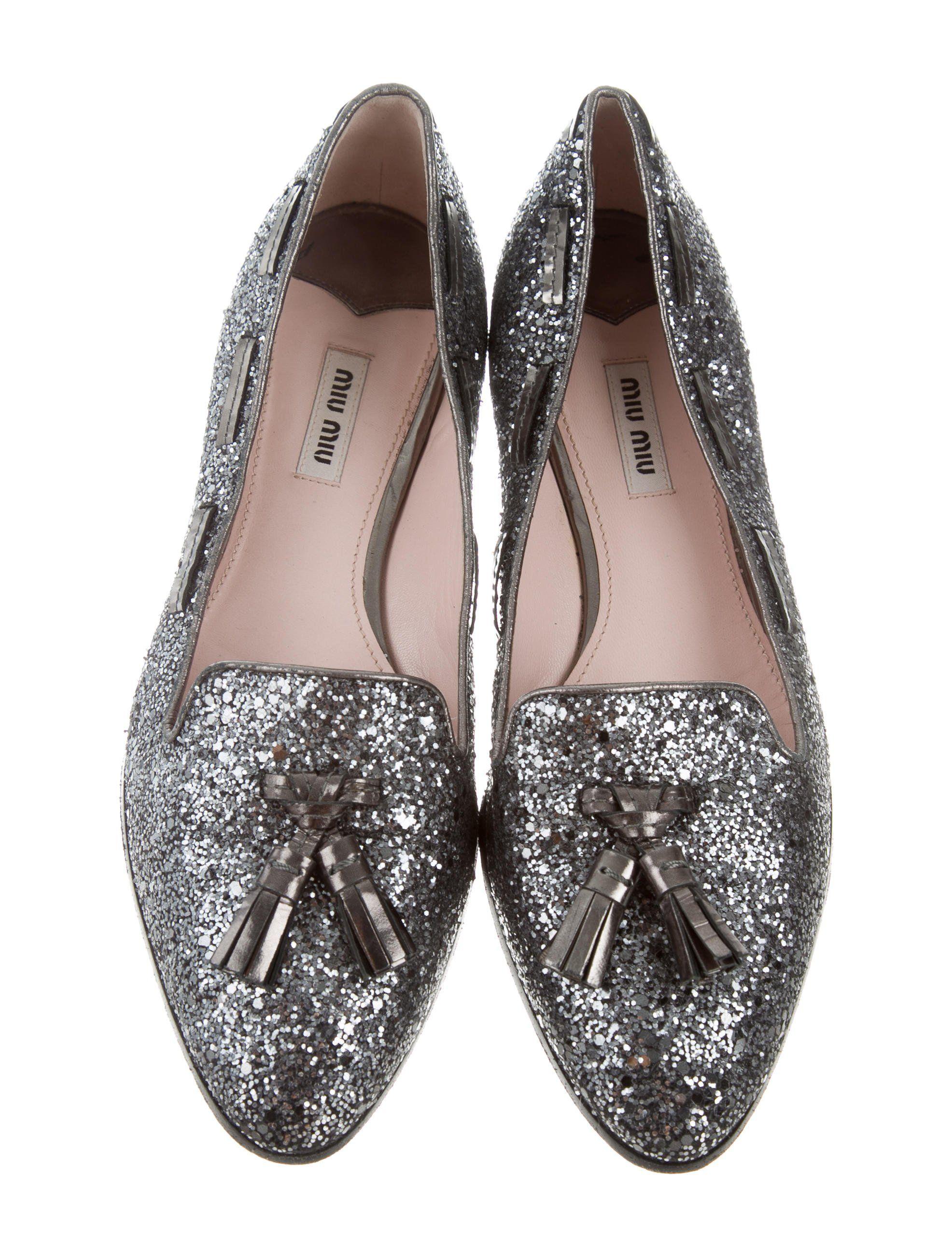 comfortable for sale Miu Miu Glitter Semi Pointed-Toe Flats really online e2FOoD8Yk