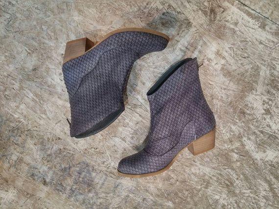 Leder-Booties grau / Frauen Leder Schuhe / von EllenRubenBagsShoes