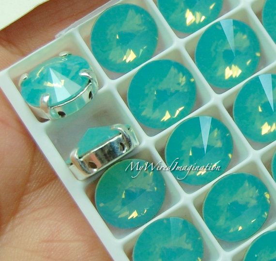 Pacific Opal, Swarovski Crystal 10mm Rivoli, Sew On Crystal, Rhinestone Sew On, Crystal Rhinestone Setting, Pacific Opal Green Blue