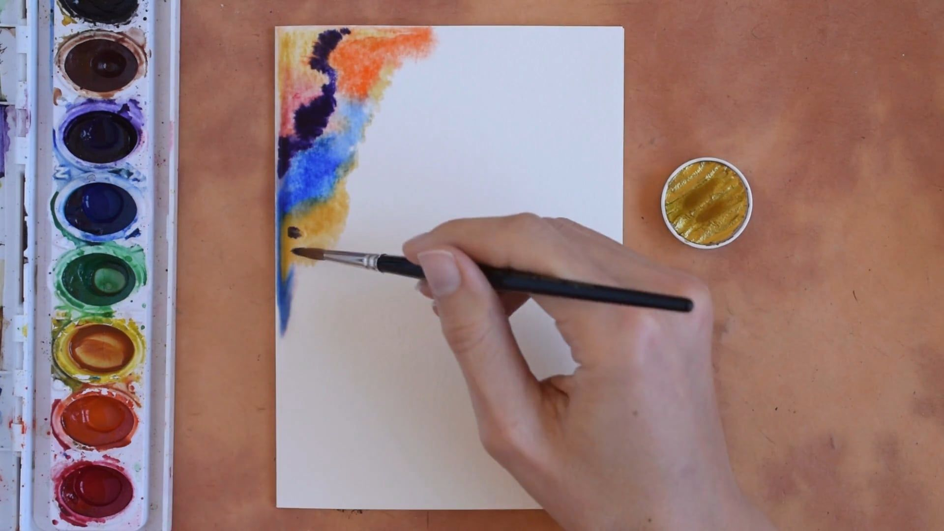 Watercolor Birthday Cards Tutorial ~ How to make a watercolor border for the abstract watercolor card