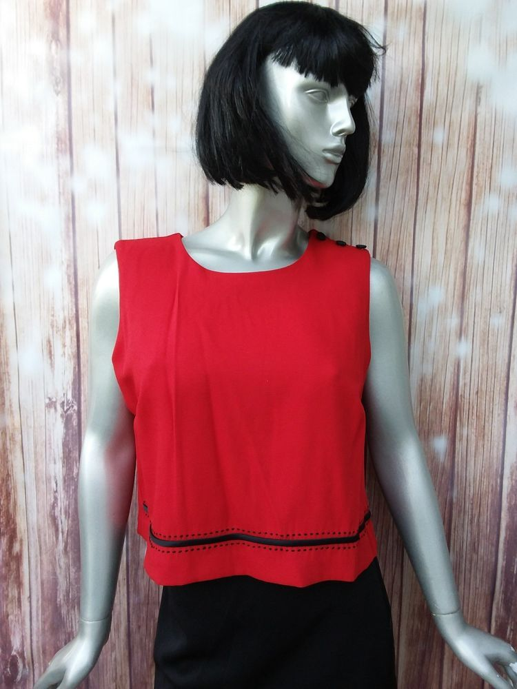 Small Womens Blouse Red Button Down Sleeveless Boat Neck 90s