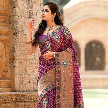 #Purple Banarasi Brocade #Saree with Blouse for the kundan jewellery as well
