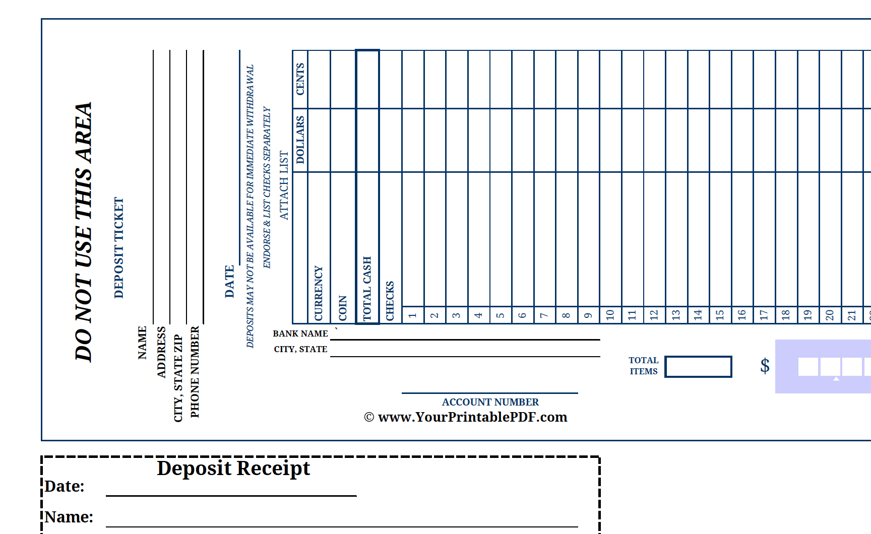 Printable Large Print Bank Deposit Slip  There Is Nothing Worse