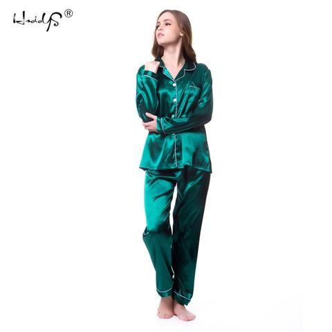 cbd45b37ff Plus size M-5XL Women Silk Satin Pajamas Pyjamas Set Sleepwear Long Sleeve  Pyjamas   Lace Cute Cami Top and Shorts Pijama