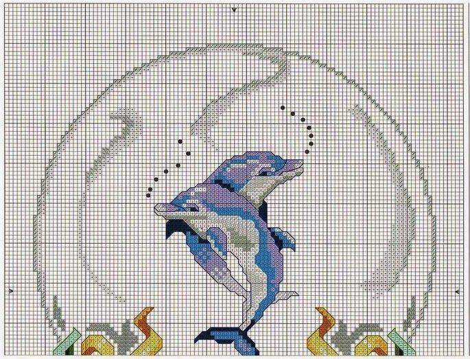 GRAFICOS PUNTO DE CRUZ GRATIS : DELFINES(22)   bordados punto de ...