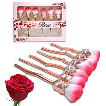 Makeup Brushes Set, Flower Makeup Brushes Unique Professional Kabuki Rose Brushes Foundation… Review
