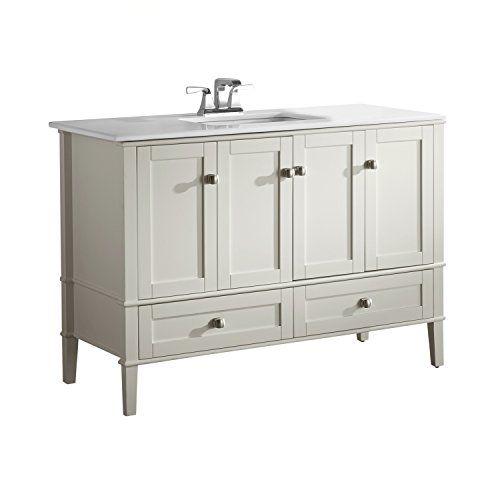 Simpli Home Chelsea 48 Bath Vanity With White Quartz Marble Top Soft