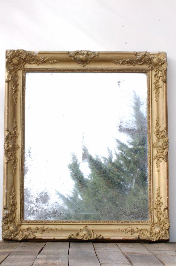 Miroir rectangulaire cadre dor miroir par for Miroir dore rectangulaire