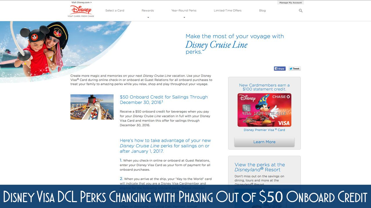 Disney Visa DCL Perks Changing with Phasing Out of $50 Onboard Credit