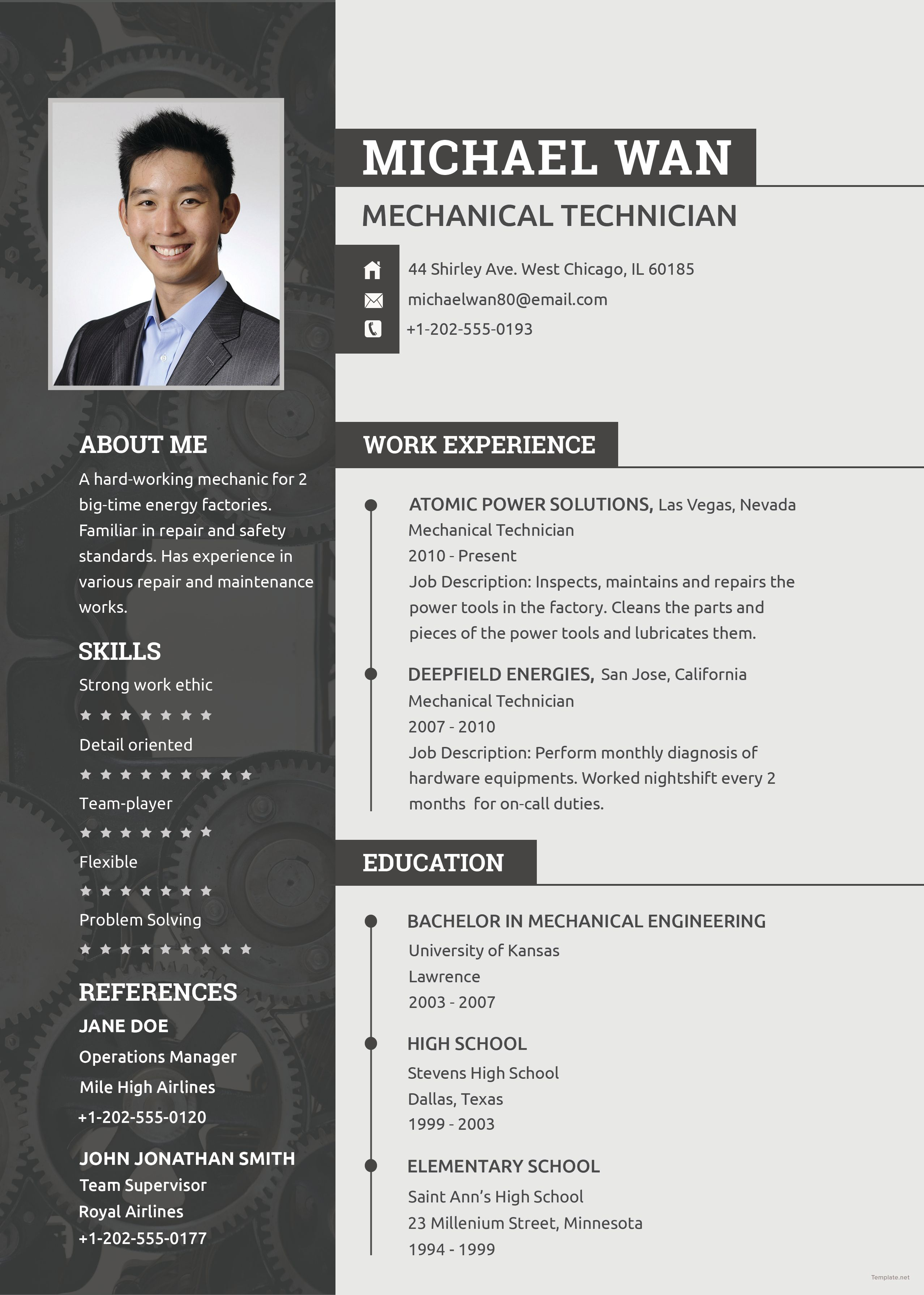 cv ingenieur template