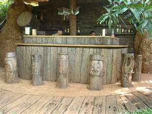 Amazing Rustic Bar Right Down To The Bar Stools Tiki
