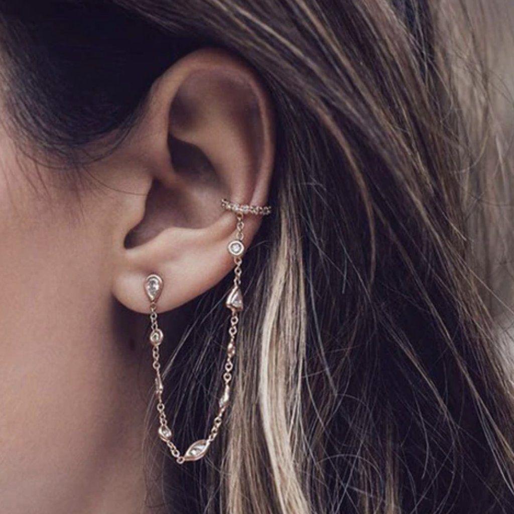 Swollen daith piercing bump  Juliana Ear Cuff Cartilage Crystal Chain Earrings Stud  JEWERLY