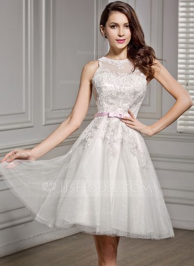 A-Line/Princess Scoop Neck Knee-Length Lace Wedding Dress With Sash ...