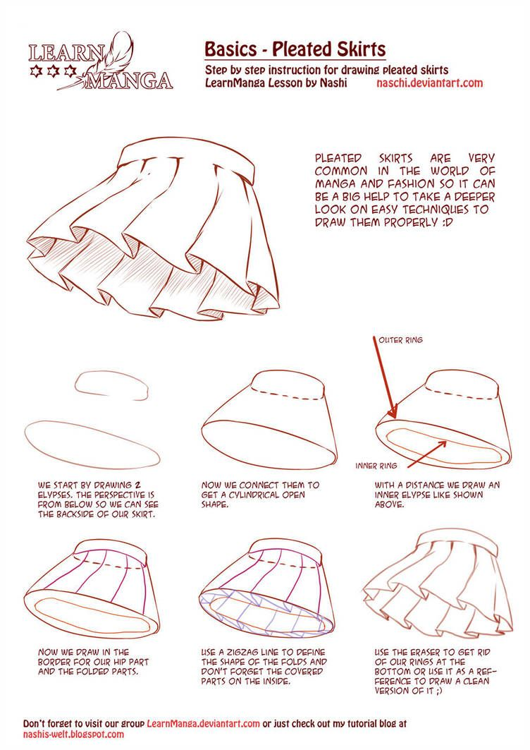 Learn Manga Basics Pleated Skirts By Naschi How To Draw Skirt Anime Skirts Drawing Clothes