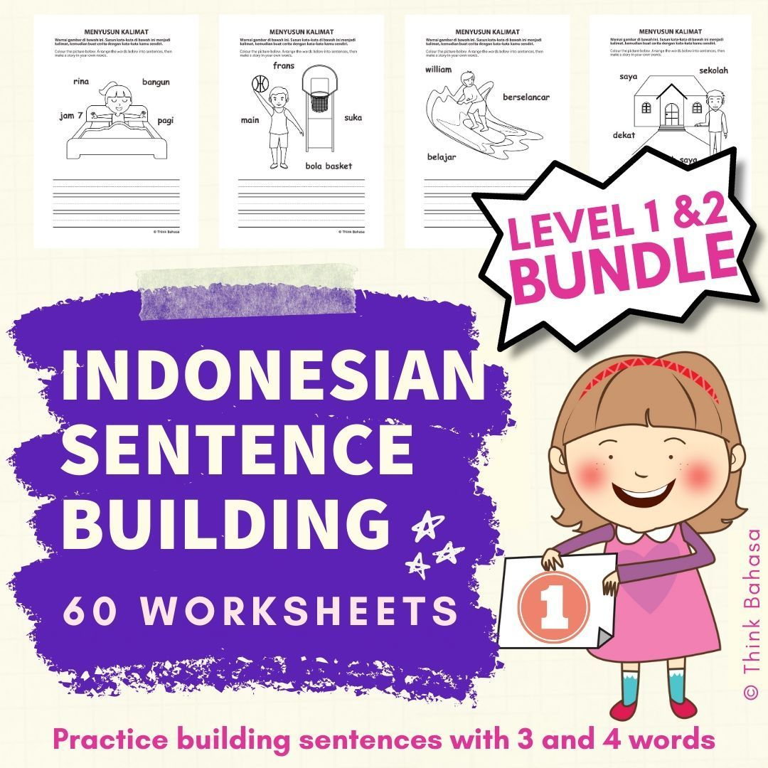 Indonesian Sight Word Sentence Building 3 4 Words Series Bundle Sight Word Sentences Sentence Building Word Sentences
