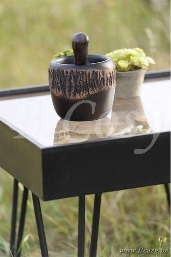 J-Line Vierkante tafel republique hout-metaal zwart-bruin 55