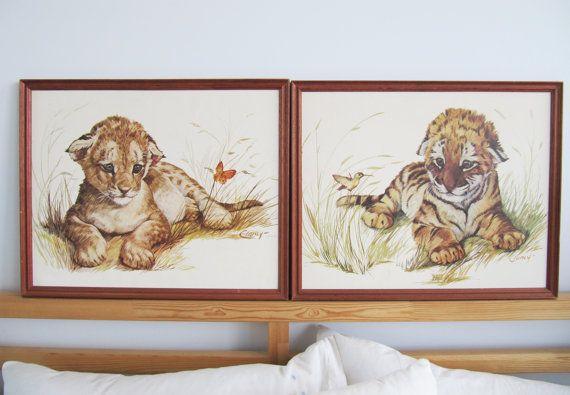Cheetahs kissing drawing Art Print ACEO Collectible Gift Card Ink Draw NY Artist