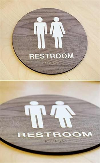 Stylish Restroom Signs Ada Braille Wood Bathroom Signs ป าย