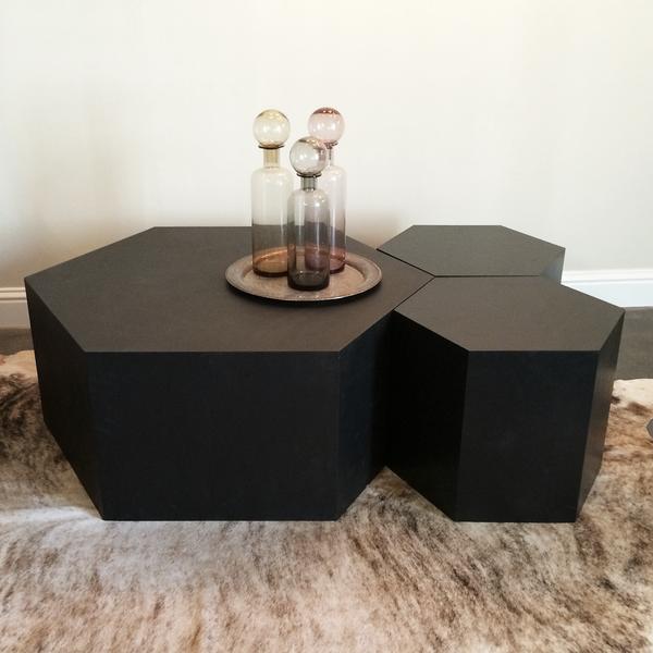 Hexagon Wood Modern Geometric Table Matte Black Hexagon Coffee