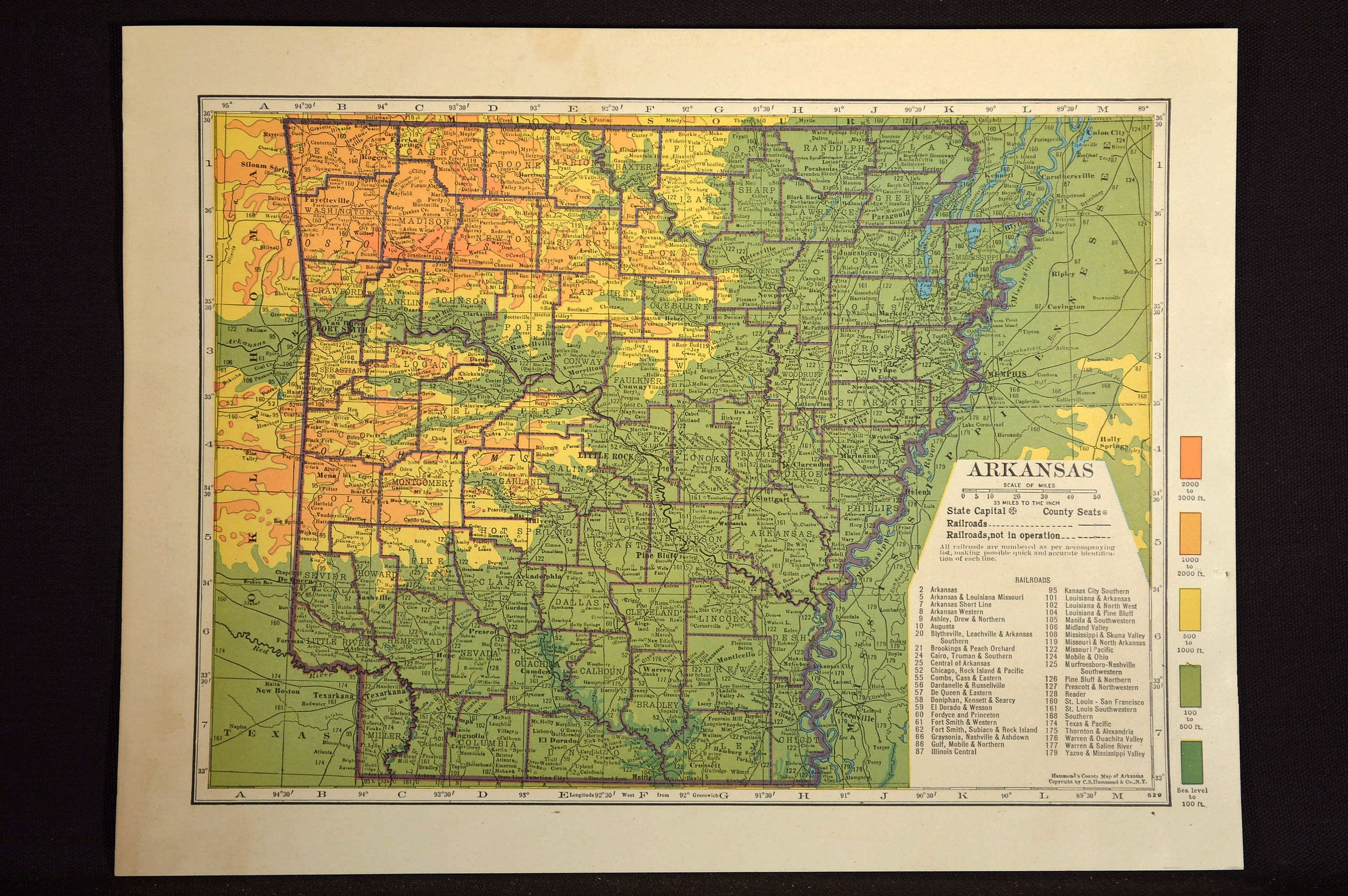 Arkansas Map Arkansas Topographic Map Colorful Colored | Map Wall ...