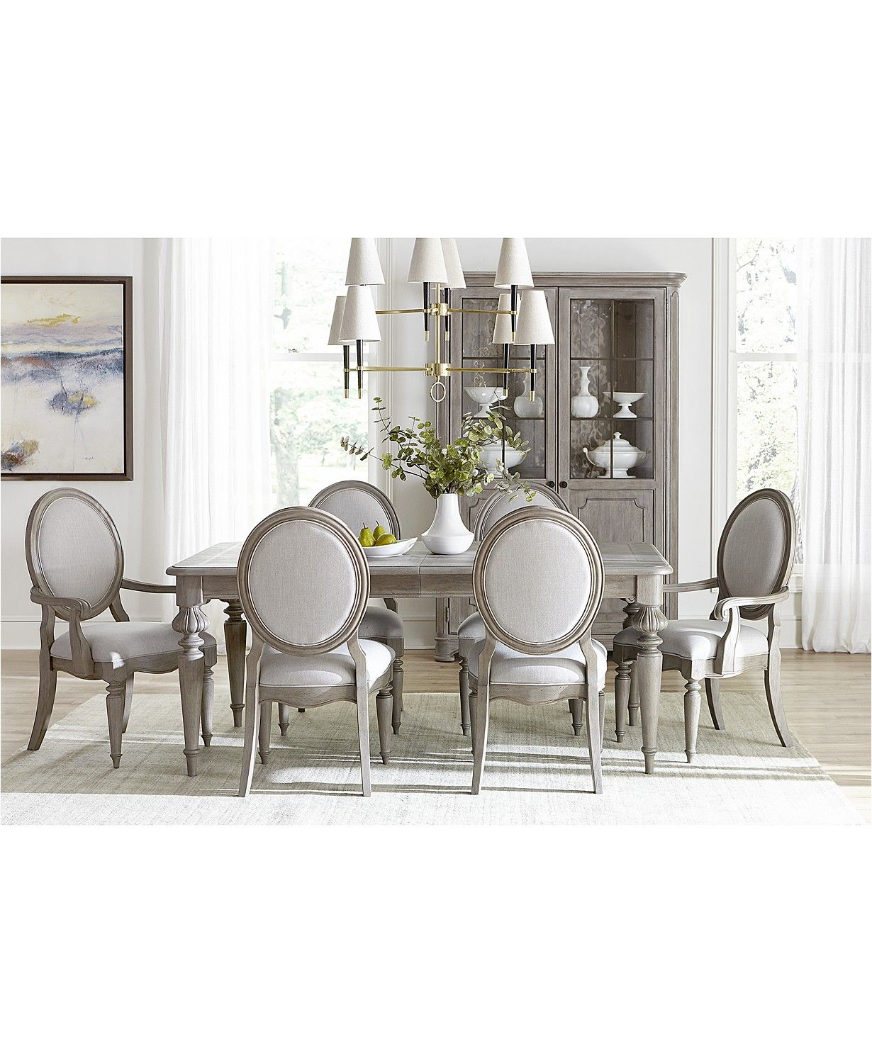 Furniture Elina Expandable Dining Furniture 7 Pc Set Dining Table 4 Upholstered Side Chairs 2 Upholstered Arm Chairs Created For Macy S Reviews Furniture