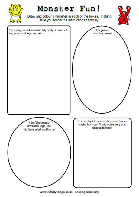 monster fun printables | Worksheets for kids, Fun worksheets ...