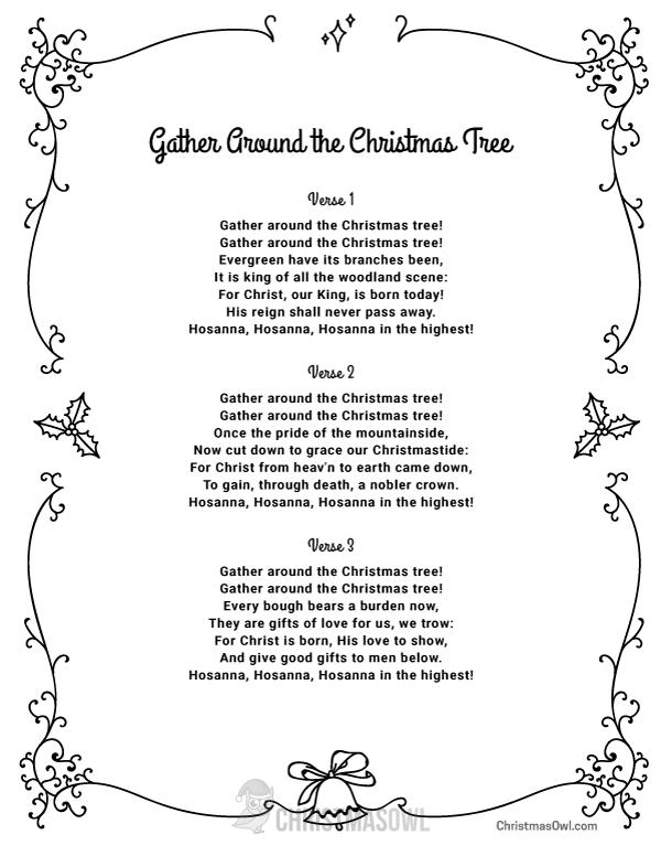 Free printable lyrics for Gather Around the Christmas Tree