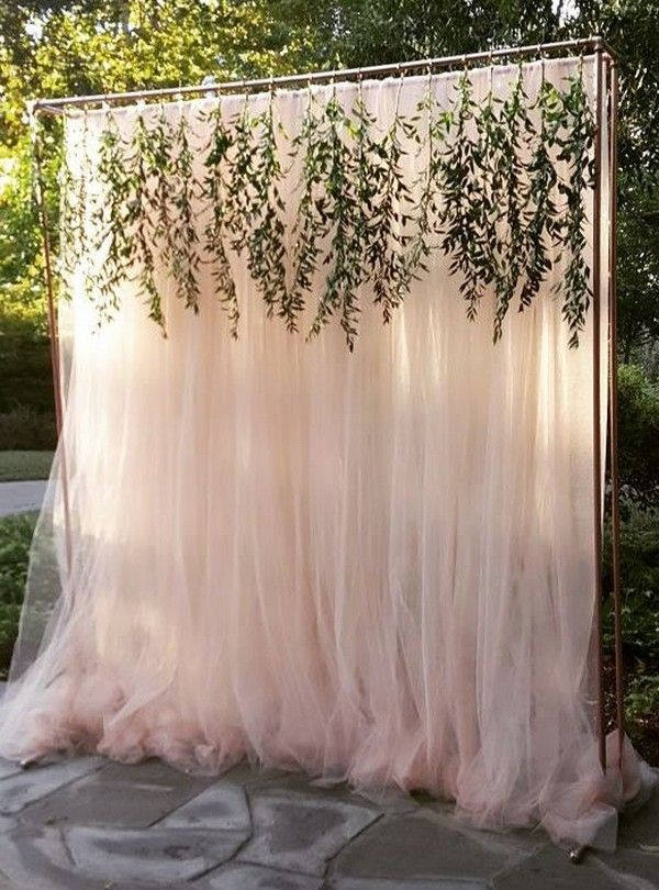 Trending 15 hottest wedding backdrop ideas for your ceremony elegant outdoor wedding backdrop ideas with greenery garland junglespirit Image collections