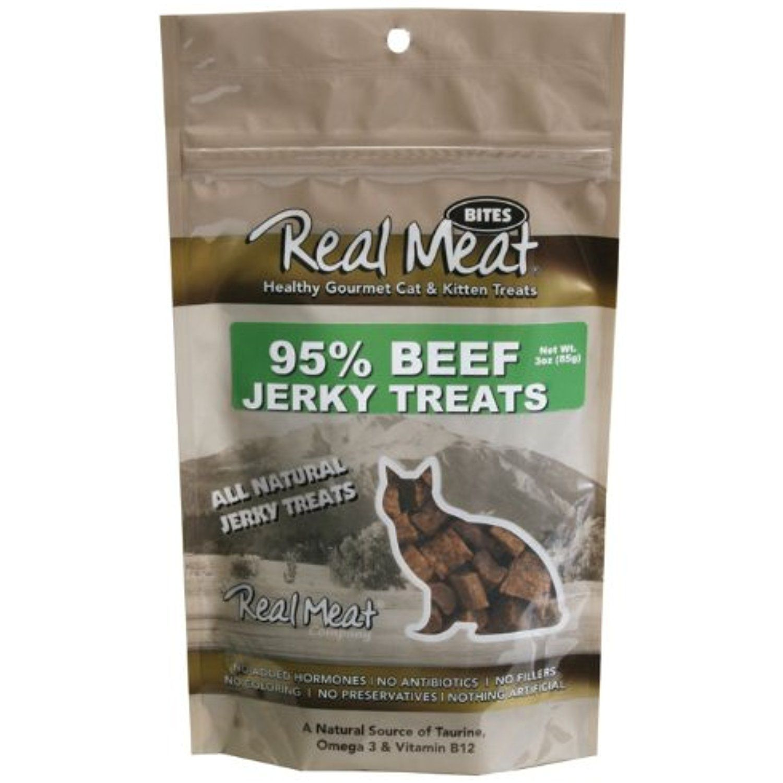 THE REAL MEAT COMPANY 828103 Cat Jerky Beef Treat, 3Ounce
