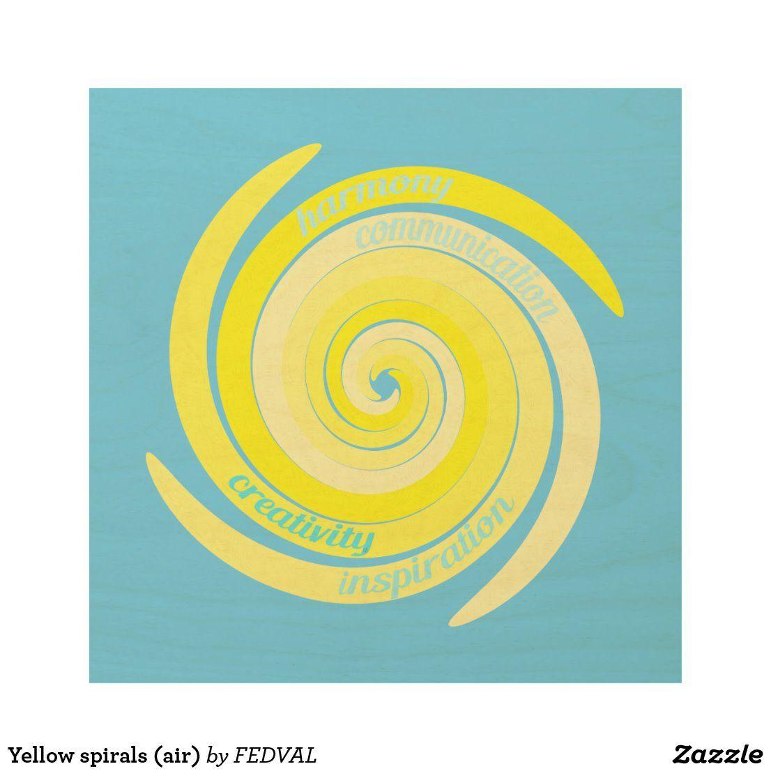 Yellow Spirals Air Wood Wall Art Zazzle Com Wood Wall Art Wall Art Wood Canvas