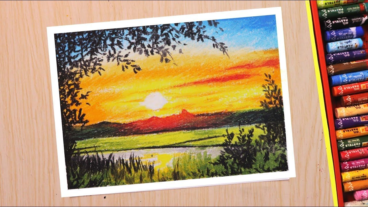 Oil Pastel Drawing For Beginners Scenery Drawing Of Beautiful