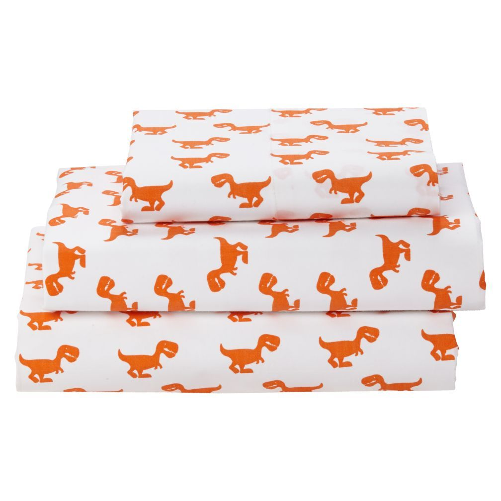 Organic Orange Dinosaur Twin Sheets Reviews Crate And Barrel
