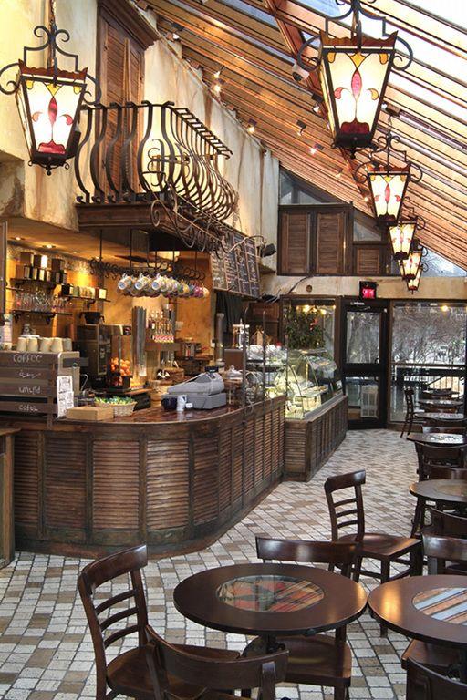 sweet little coffee shop w/a Juliet balcony over the
