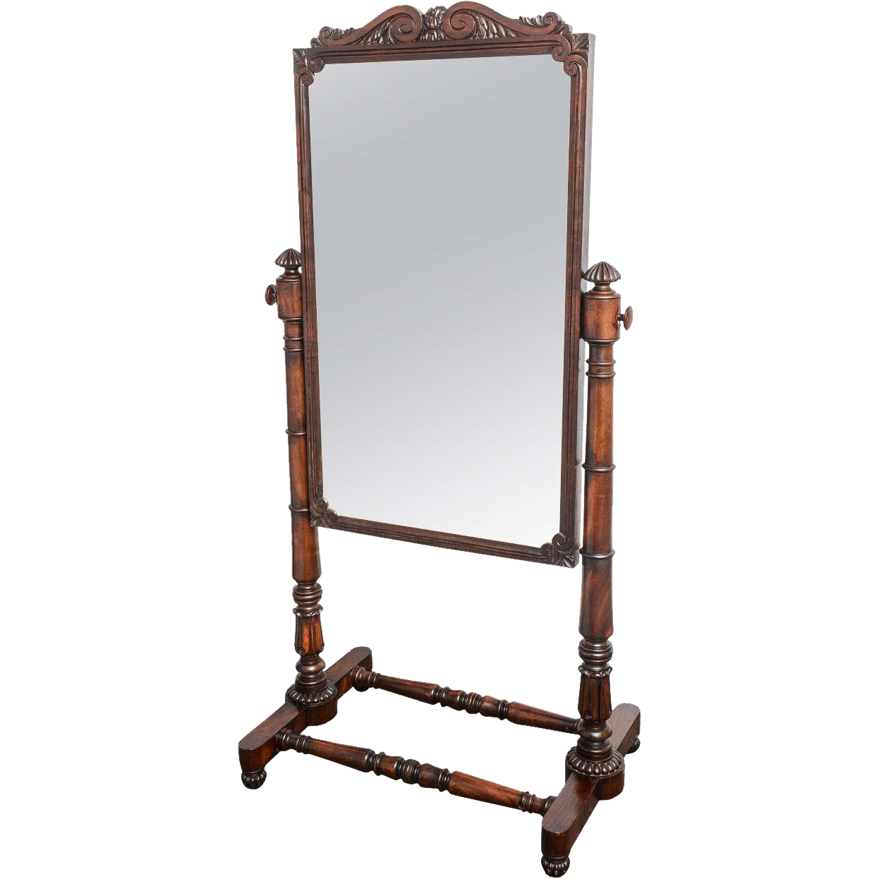 19th Century Antique Mahogany English Cheval Mirror On Stand From