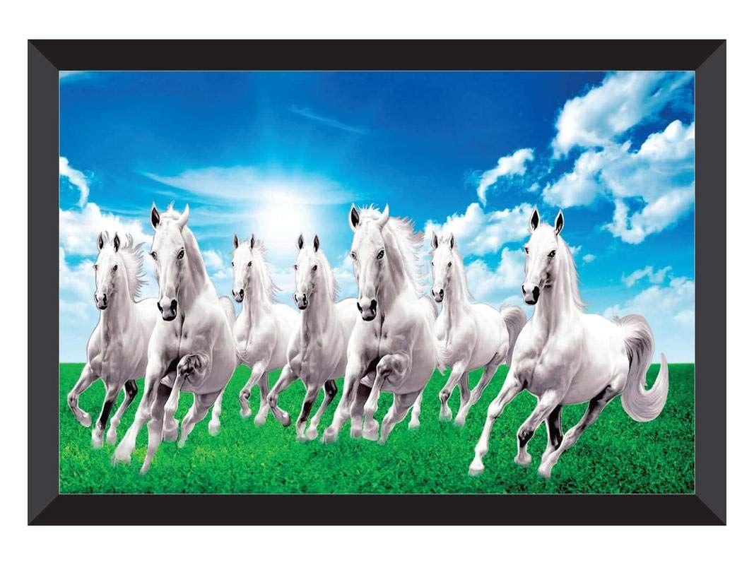 Saf 7 Running Horses Sunrise Vastu Uv Coated Home Decorative Gift Item Framed Painting 14 Inch X 20 Horse Canvas Painting Seven Horses Painting Canvas Painting