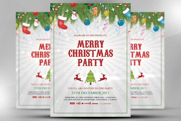 Merry Christmas Party Template by Madhabi Studio on - christmas invite template free