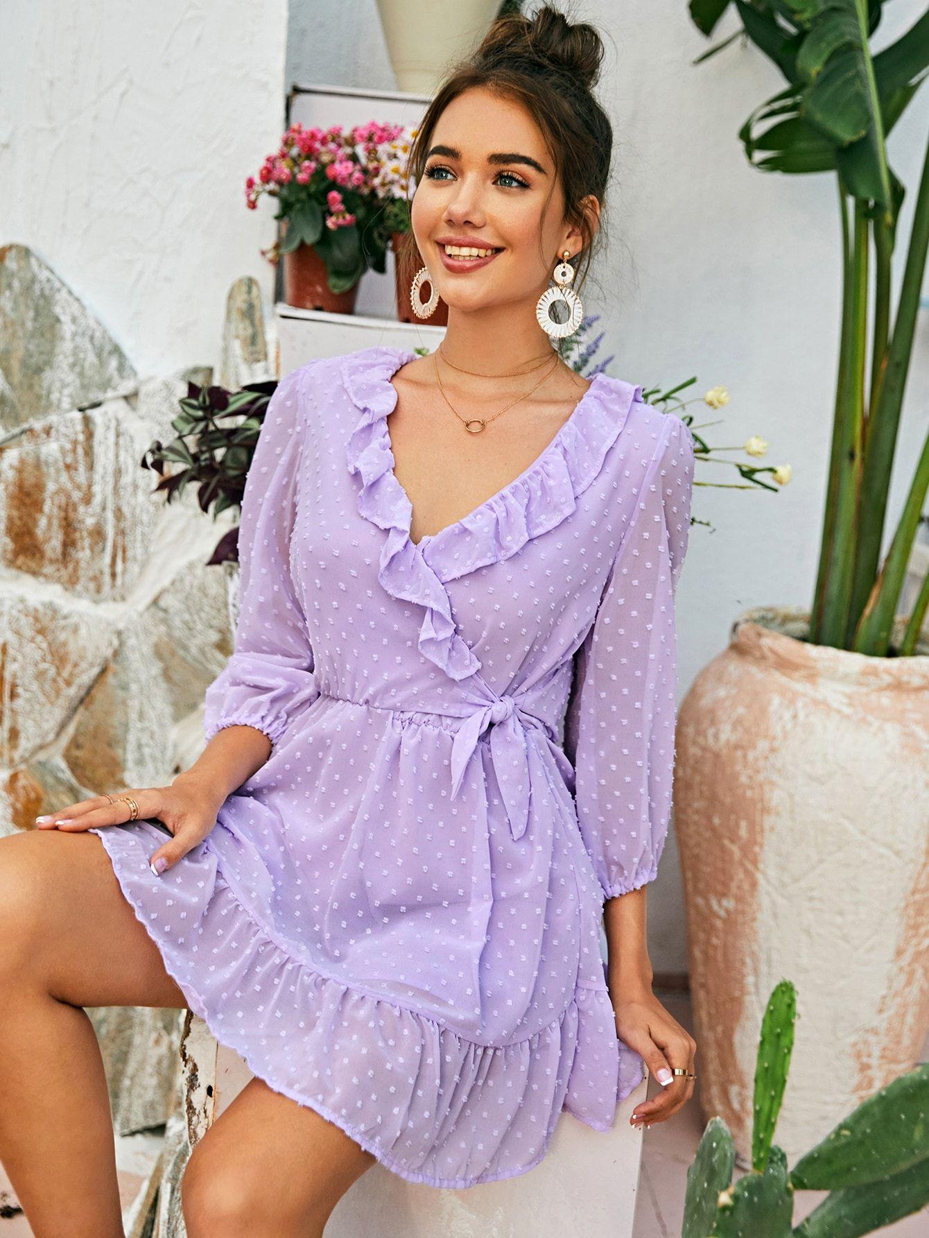 Swiss Dot Knot Front Ruffle Hem Dress Shein Usa Purple Dress Outfits Purple Dress Casual Purple Summer Dress [ 1785 x 1340 Pixel ]