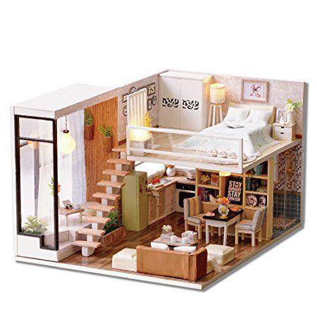 DIY Holz Puppenhaus HANDARBEIT Miniatur Kit Duplex Stil Raum Modell U0026  LED Licht