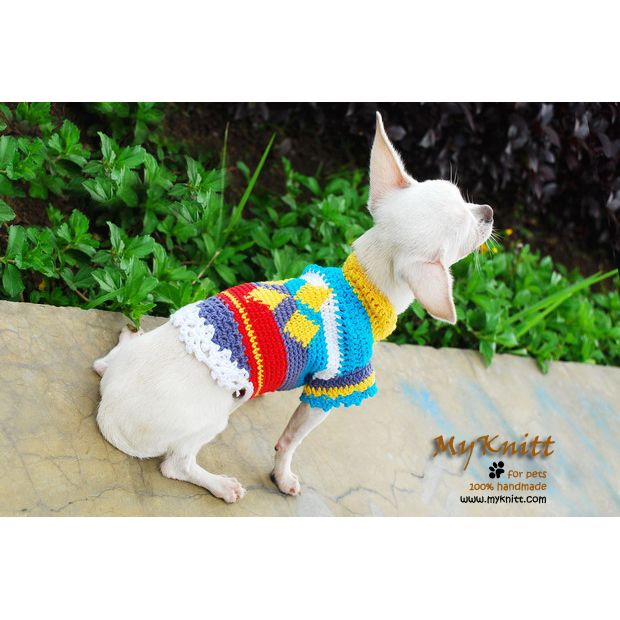 Extra small dog outfits colorful dice pattern crocheted by myknitt ...