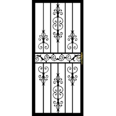 Grisham 32 In X 80 In 109 Series Black Hinge Left Diplomat Security Door With Self Storing Glass Feature Powder Coated Black Steel Security Doors Wrought Iron Security Doors Security Door